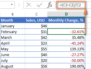 Excel formula to calculate percent change between rows
