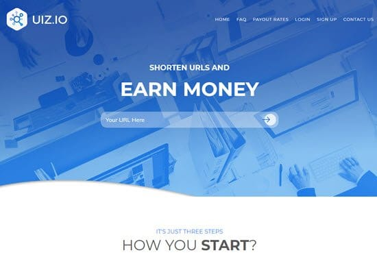 Uiz short link earn money